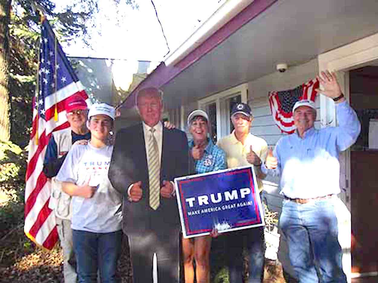 Trump supporters Wayne McBride, Austin Nevill, Robin Carter, Greg Colby, and Don Burgess at the Ukiah headquarters today on State Street