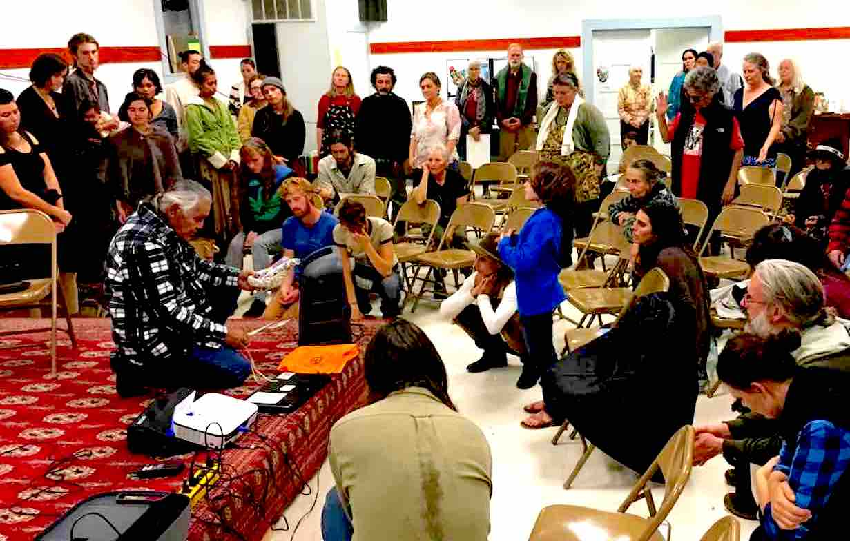 American Indian Movement Spiritual Leader Fred Short led the crowd in a closing prayer at an event supporting Standing Rock at the Redwood Valley Guild.