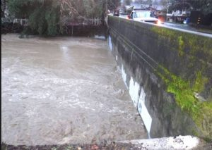 Culverts blocked, Orr Creek at North Oak Street in Ukiah, photo thanks to Annie Esposito.