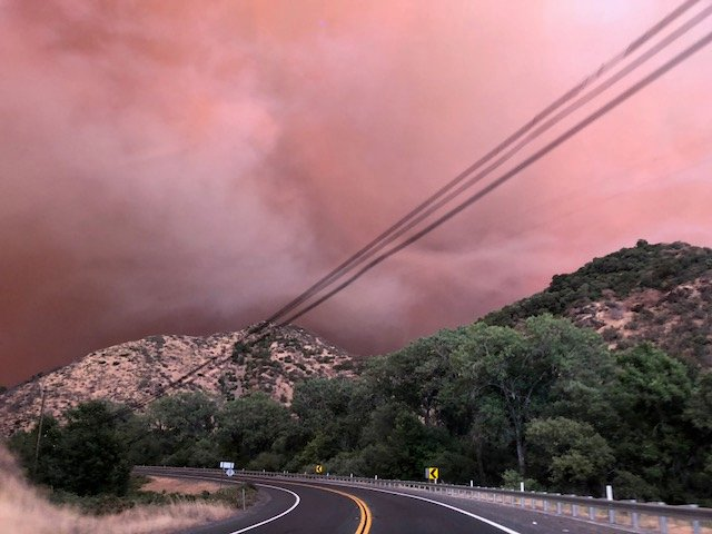Smoke from Mendocino Complex fires visible from Highway 175, July 29 - Kate B. Maxwell