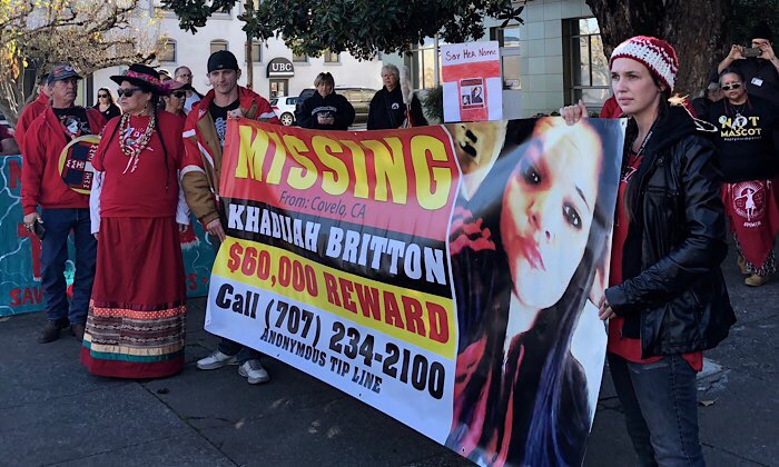 Community members highlight Khadijah Britton's disappearance at a Mendocino County Sheriff's Office press conference in December, 2018 — Kate B. Maxwell.