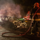 Late night vehicle fire on 101 blocks traffic north of Willits